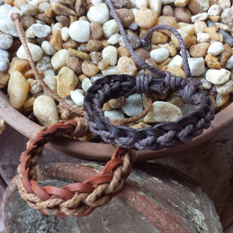 Adjustable Braided Leather and hemp Bracelet