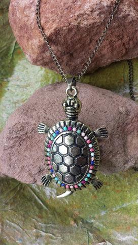 Turtle Chain Beaded  Pendant Necklace
