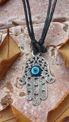 Hamsa Silver tone Evil Eye Adjustable Necklace