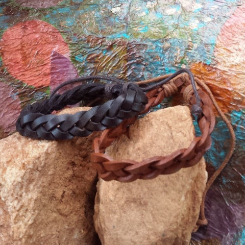 Adjustable Braided Leather Bracelet