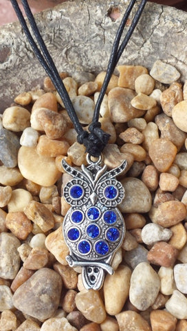 Owl Silver tone with Blue Crystals Adjustable Necklace