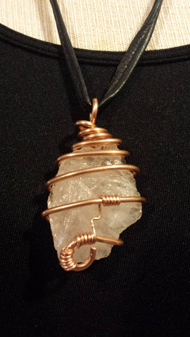 ROSE QUARTS NECKLACE COPPER WIRED WITH BLACK LEATHER CORD