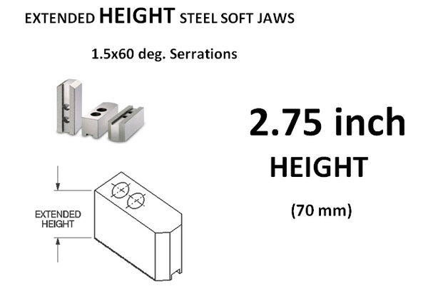 Master Soft Steel Jaws Extended Height 2.75