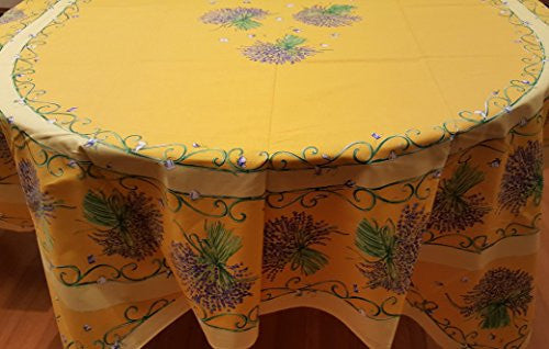 Lavender Blossoms Printed Cotton Tablecloth, Rectangular 61