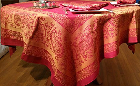 Sun and Laurel Red 63 in. square Cotton Jacquard Tablecloth and 4-Napkin Set