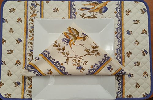 Moustier Printed Cotton Placemat with Napkins (Set of 2 each) - Cream/Blue/Green/Bronze