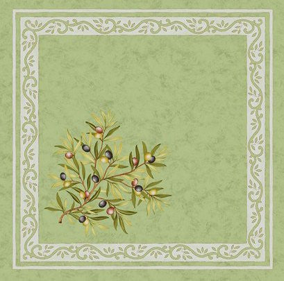 Olive Branch Printed Cotton Napkin, Green