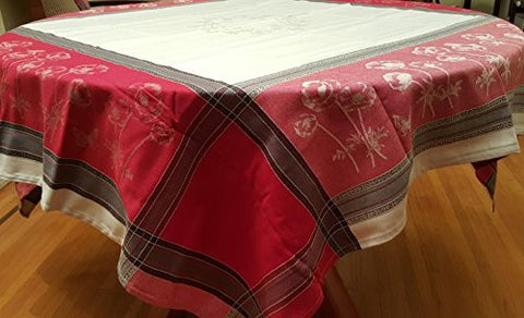 Poppies Cotton Jacquard Tablecloth, Red/White/Multi