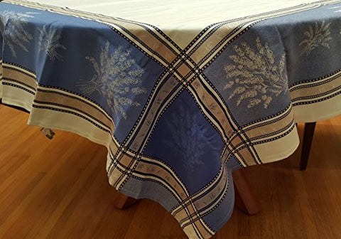 Lavender Springs Cotton Jacquard Tablecloth with Napkins, White/Blue/Lavender/Multi
