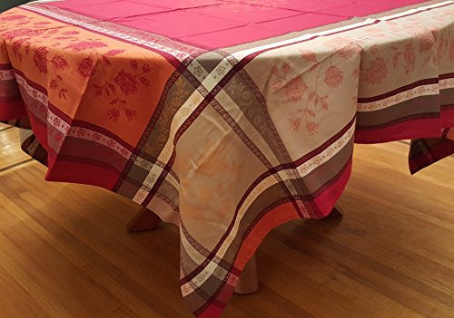 Arles Cotton Jacquard Tablecloth, Red/Orange/Multi