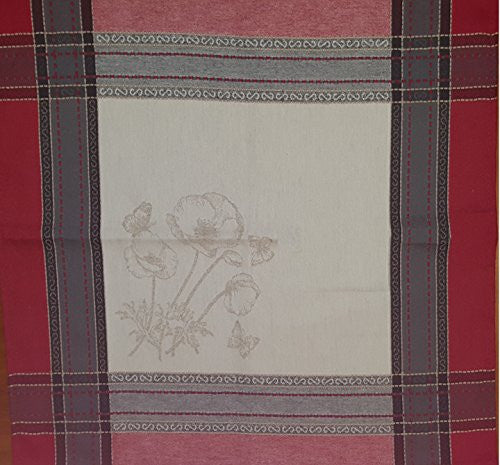 Poppies Cotton Jacquard Napkin - set of 2, Red/White
