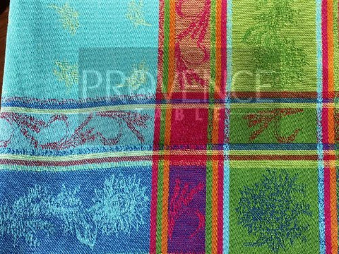 Cezanne Cotton Jacquard Napkin Turquoise/Multi - Set of 2