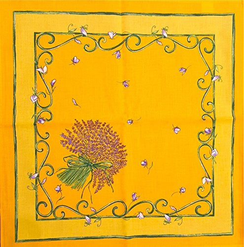 Lavender Blossoms Printed Cotton Napkins, Yellow, Set of 2