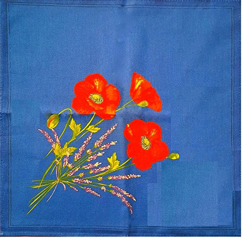 Poppies and Lavender Printed Cotton Napkins, Blue, Set of 2
