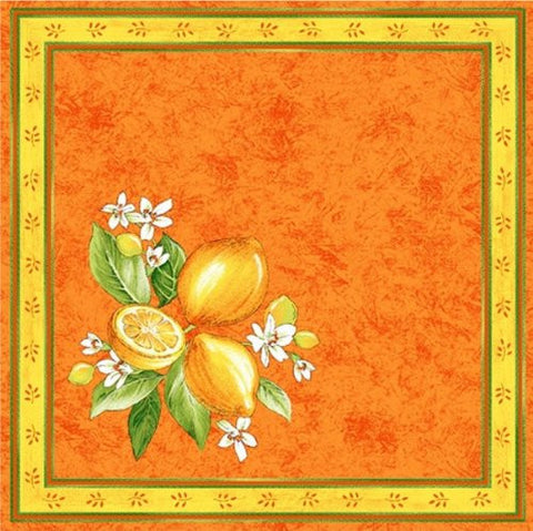 Lemons and Blossoms Printed Cotton Napkin