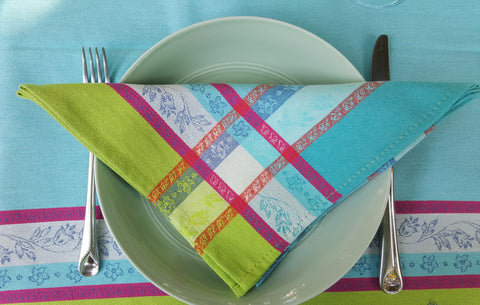 Arles Cotton Jacquard Napkin - Set of 2, Turquoise/Multi