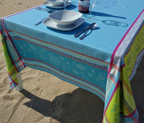 Arles Cotton Jacquard Tablecloth, Turquoise