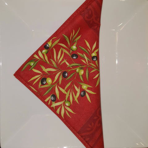 Olive Branch Printed Cotton Napkin, Red