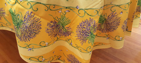 "Lavender Blossoms Printed Cotton Tablecloth, Rectangular 61""x98"" - Yellow"
