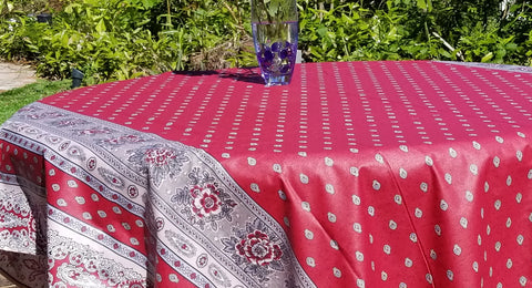 "Provence Traditions Coated Printed Cotton Rectangular Tablecloth 98"" x 67"""