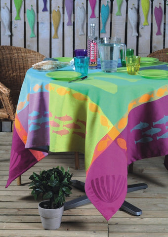 Seascape Cotton Jacquard Tablecloth