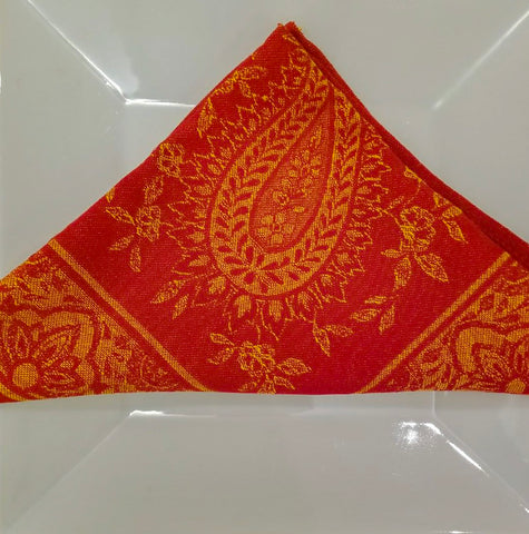 Sun and Laurel Cotton Jacquard Napkin, Red - Set of 2