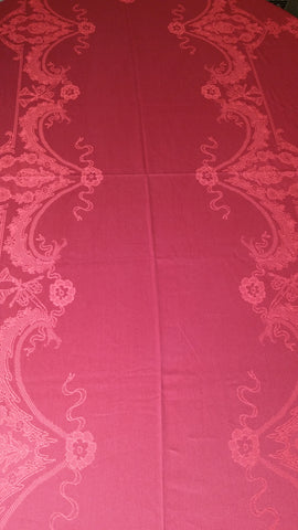 Versailles Lace Set 63x118 in. jacquard tablecloth with 12 napkin - Red