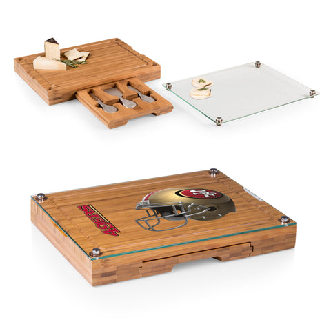 San Francisco 49ers Concerto Bamboo Cutting Board/Tray and Cheese Tools Set