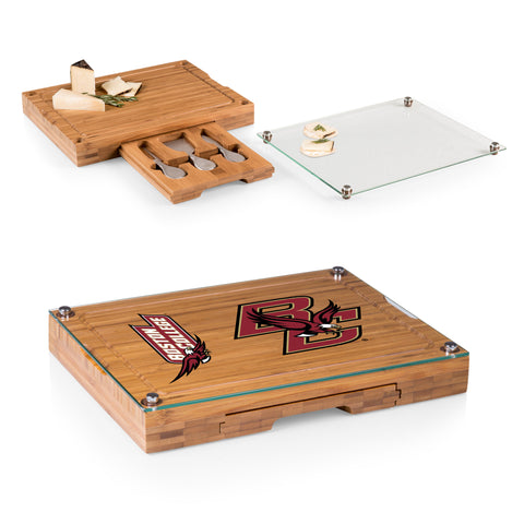 Boston College Eagles Concerto Bamboo Cutting Board/Tray and Cheese Tools Set