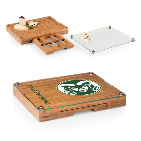 Colorado State Rams Concerto Bamboo Cutting Board/Tray and Cheese Tools Set