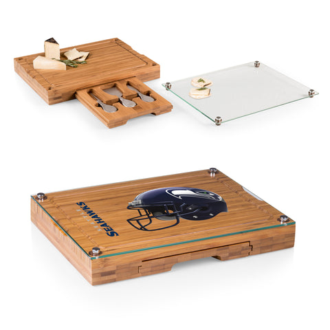 Seattle Seahawks Concerto Bamboo Cutting Board/Tray and Cheese Tools Set