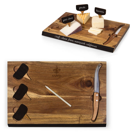 New Orleans Saints Delio Acacia Cheese Board and Tools Set