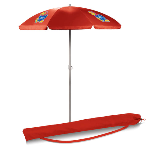 Kansas Jayhawks 5.5' Portable Beach/Picnic Umbrella in Red