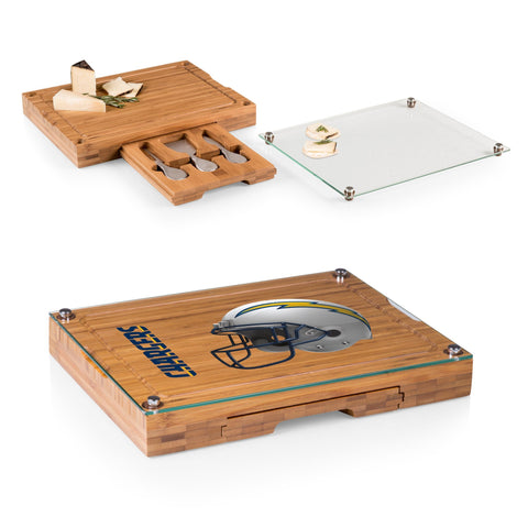 Los Angeles Chargers Concerto Bamboo Cutting Board/Tray and Cheese Tools Set