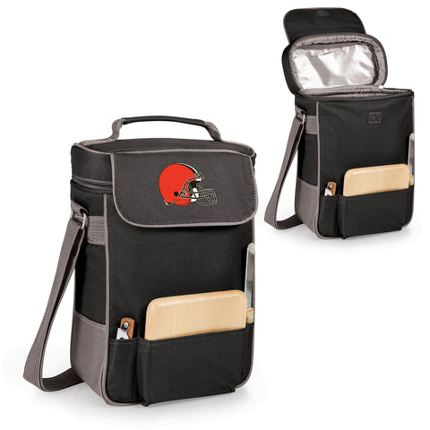 Cleveland Browns Duet Wine and Cheese Tote in Black