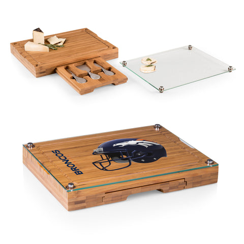 Denver Broncos Concerto Bamboo Cutting Board/Tray and Cheese Tools Set