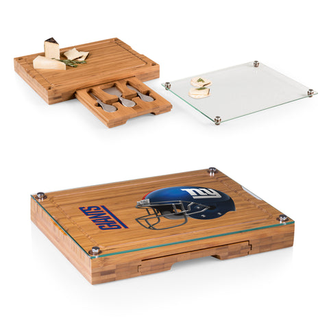 New York Giants Concerto Bamboo Cutting Board/Tray and Cheese Tools Set