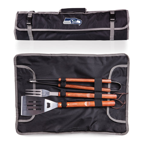 Seattle Seahawks 3-Piece BBQ Tote and Tools Set