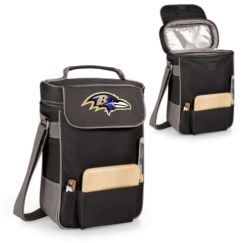 Baltimore Ravens Duet Wine and Cheese Tote in Black