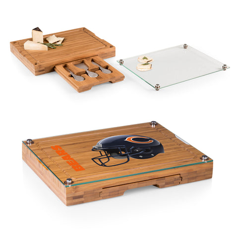 Chicago Bears Concerto Bamboo Cutting Board/Tray and Cheese Tools Set