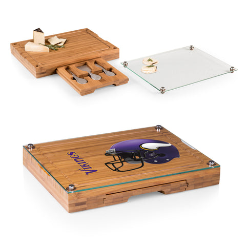Minnesota Vikings Concerto Bamboo Cutting Board/Tray and Cheese Tools Set