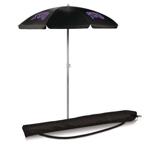 TCU Horned Frogs 5.5' Portable Beach/Picnic Umbrella in Black