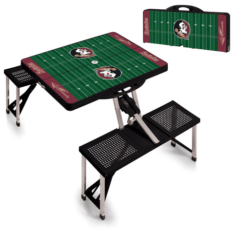 Florida State Seminoles Portable Picnic Table w/Sports Field Design in Black