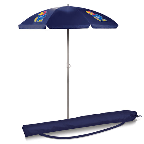 Kansas Jayhawks 5.5' Portable Beach/Picnic Umbrella in Navy