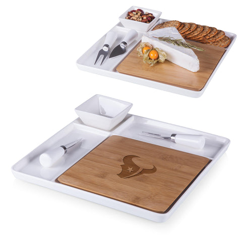 Houston Texans Peninsula Cutting Board Serving Tray with Cheese Tools in Bamboo