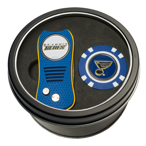 St Louis Blues Tin Gift Set with Switchblade Divot Tool and Golf Chip