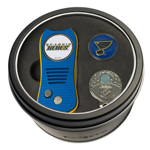 St Louis Blues Tin Gift Set with Switchblade Divot Tool, Cap Clip, and Ball Marker