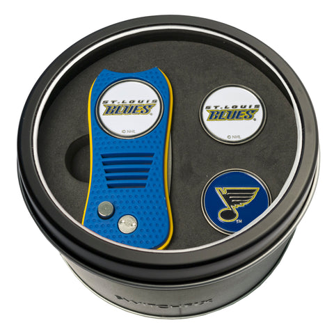 St Louis Blues Tin Gift Set with Switchblade Divot Tool and 2 Ball Markers