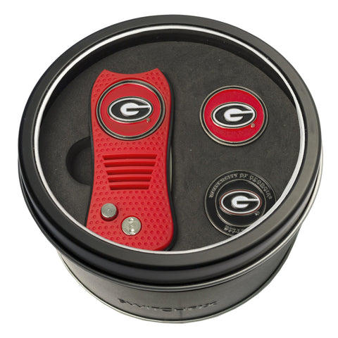 Georgia Bulldogs Tin Gift Set with Switchblade Divot Tool and 2 Ball Markers