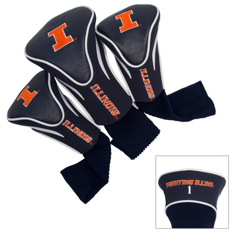 Illinois Fighting Illini 3 Pack Contour Head Covers